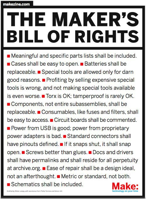 The Maker's Bill of Rights (PDF)