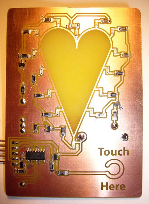 Touch activated LED valentine