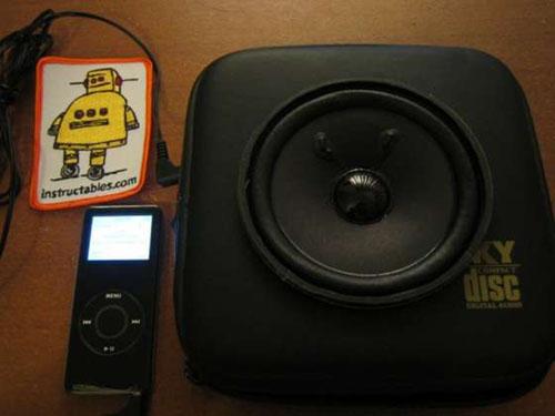 Portable speaker in a CD case