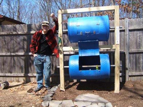 Double-barrel composter