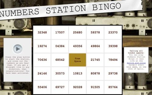 Numbers station bingo
