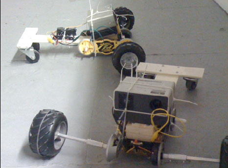 Robot tractors demolish each other in a derby of sorts