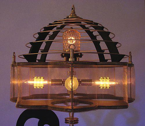 Retro-futuristic lamp art
