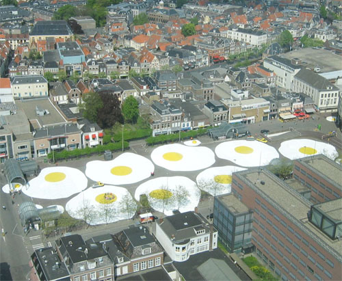 Giant eggs fill city square