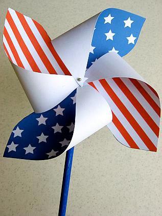 Patriotic paper pinwheel printouts