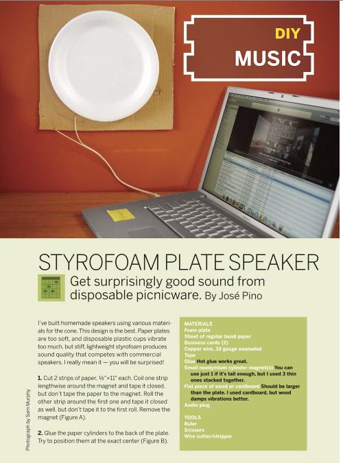 Weekend Project: Styrofoam Plate Speaker (PDF)