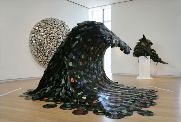 """""""Sound Wave"""" – A wave made from a pile of melted vinyl records"""