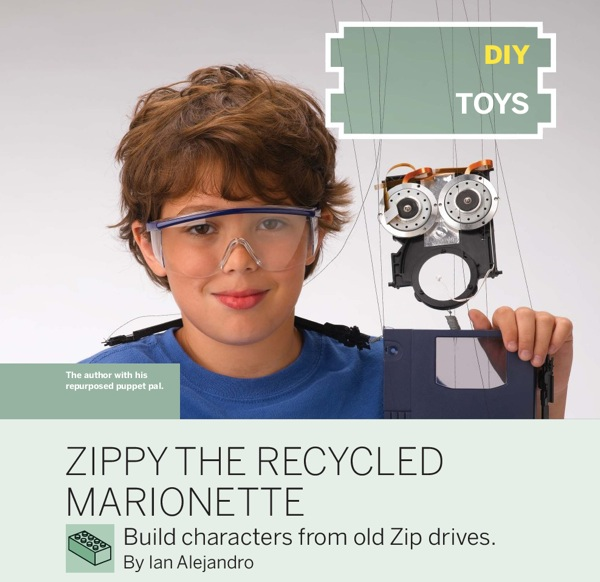 Zippy the recycled zip drive marionette