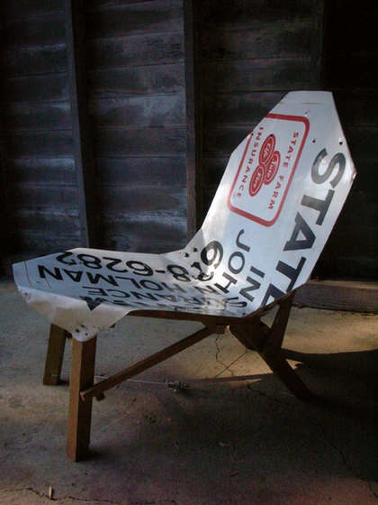 Chair from old metal sign