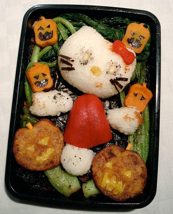 Halloween zombie kitty bento