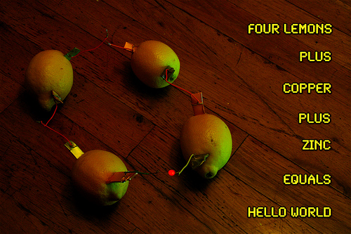 Lemon-powered LEDs