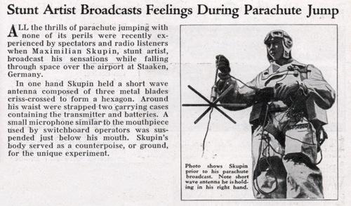 Stunt artist broadcasts feelings during parachute jump