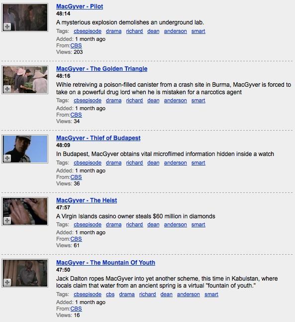 MacGyver episodes