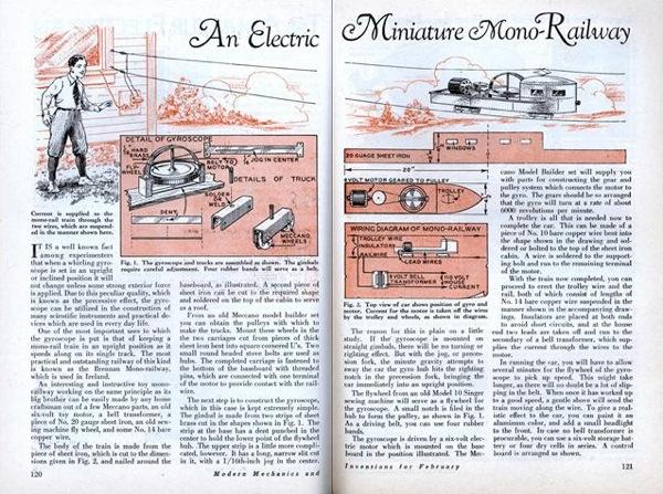 Electric miniature mono-railway