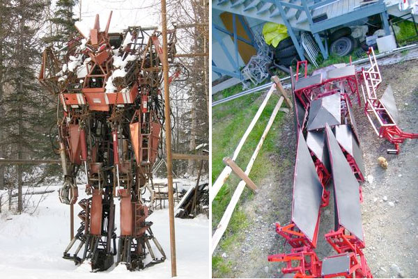 Real-life mech awakens, emits flame from appendages