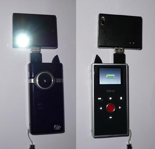 Light + charger for flip cams