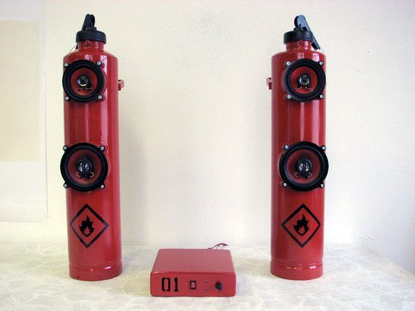 Fire extinguisher speakers