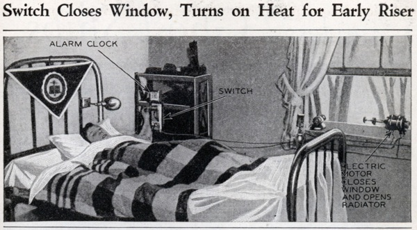 Switch closes window, turns on heat for early riser