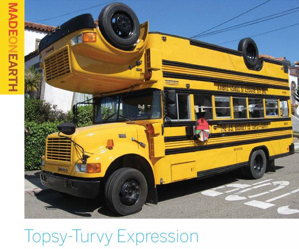"Topsy-Turvy Expression – ""Double decker school bus"""