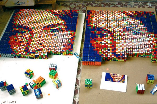 Rubik's Cube mosaic puzzle