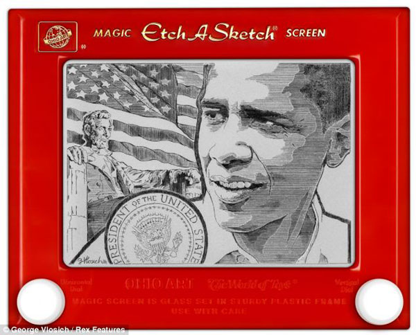 Obama portrait drawn on an Etch-A-Sketch