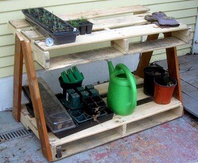 Garden pallet work table