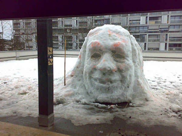 Giant head made from snow