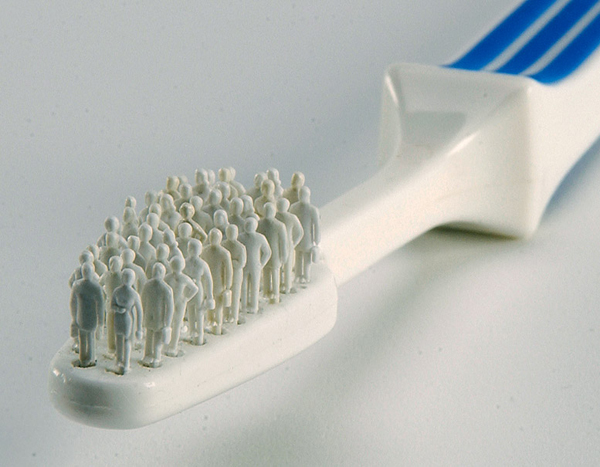 Toothbrush made of tiny people cleans your teeth better than mouthwash