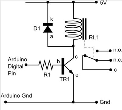 connecting a relay to arduino make rh makezine com wiring a latching relay circuits wiring a latching relay circuits