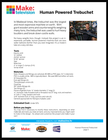 Maker Workshop PDF – Portable Trebuchet