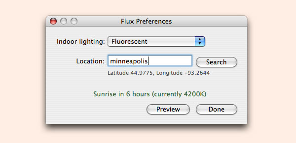 F.lux – time of day light adjustment for your monitor