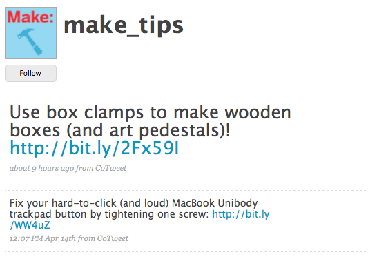 Daily tips from MAKE on Twitter: Tweet Tips