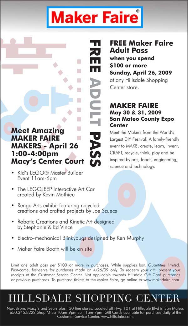 Mini Maker Faire, Hillsdale Mall, Sunday, April 26th