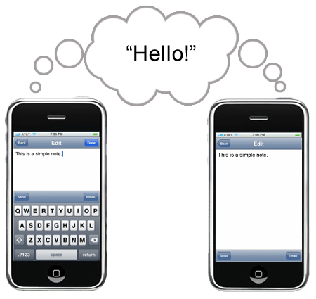 Send notes from one iPhone to another using sound