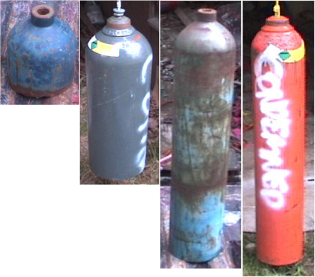 Homemade bells from old gas bottles