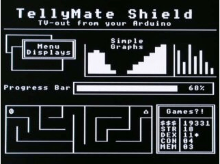 TV output from Arduino with TellyMate shield