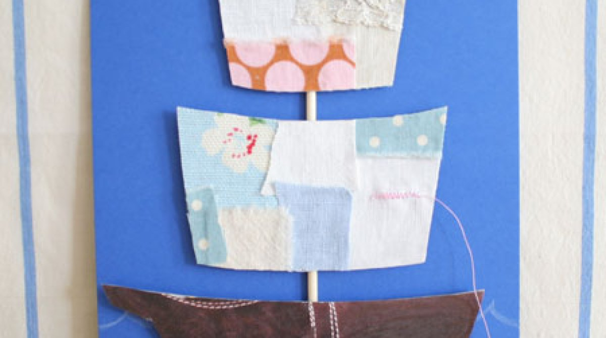 How-To: Make a Fabric Scraps Ship Father's Day Card | Make: