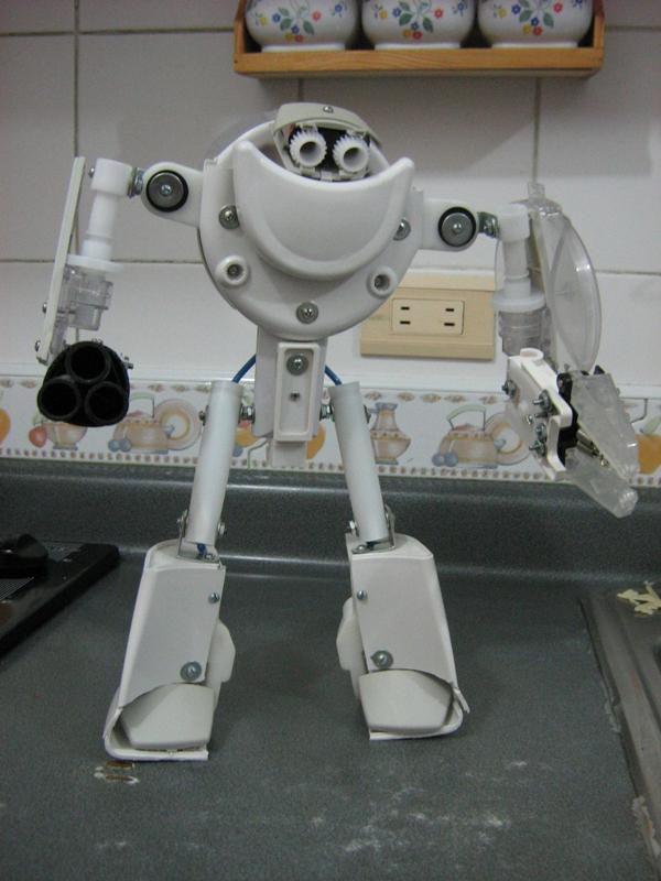 """""""Defender of the Kitchen"""" junkbot sculpture"""