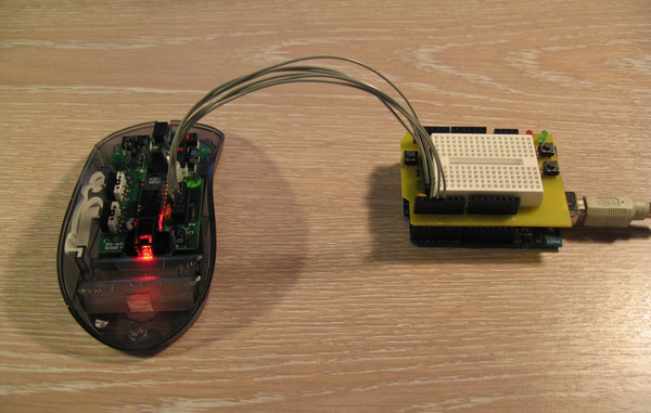 Creating an optical mouse cam with an Arduino