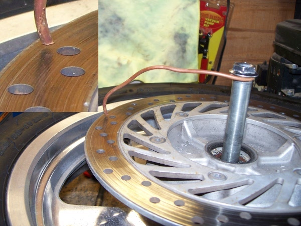 Motorcycle brake rotor repair kludge