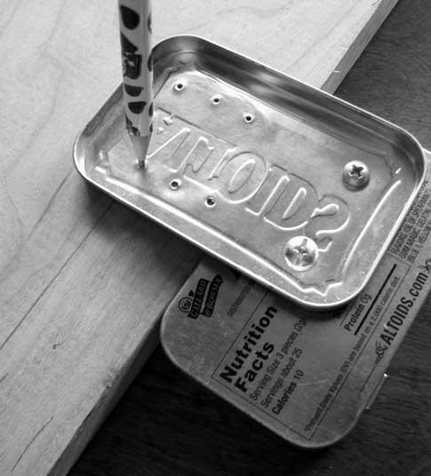 Altoids tin woodworking tools