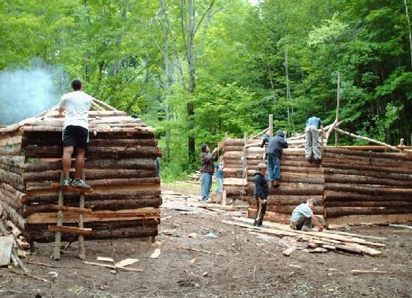 Kids build the village of Hutopolis