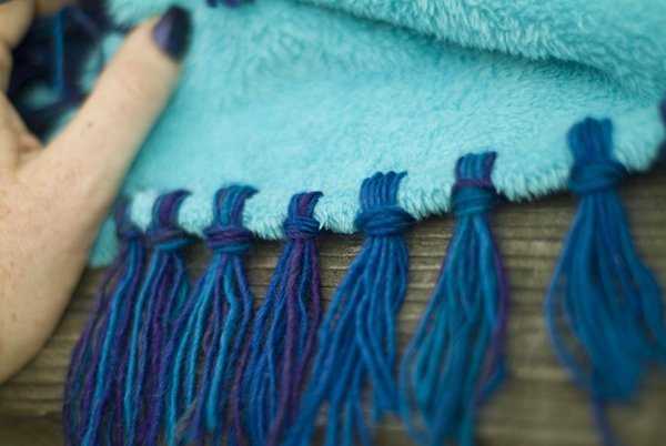 How to make a fleece baby blanket with fringe