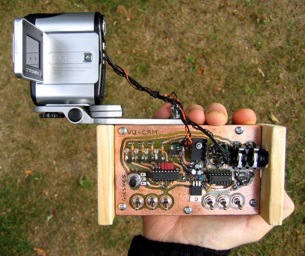 Circuit bent camera reacts to sound