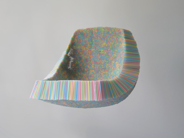 Chair made of drinking straws
