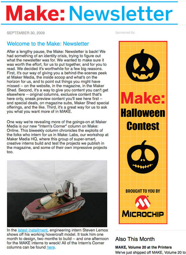 The monthly Make: Newsletter is back