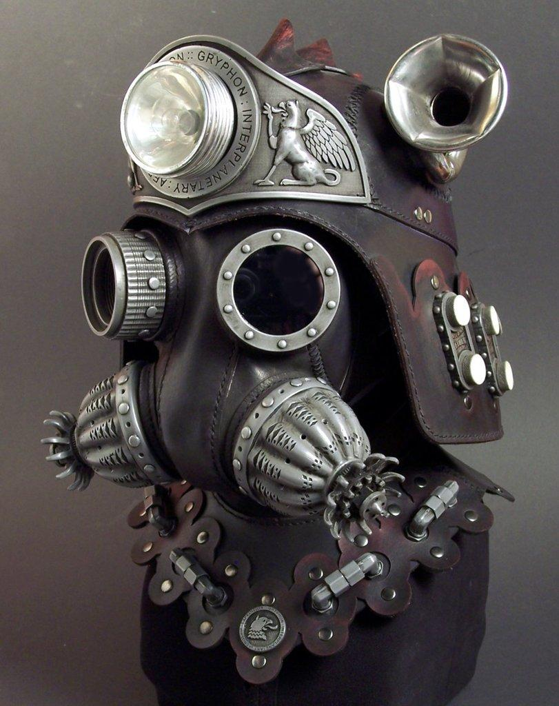 Steampunk leather masks and helmets