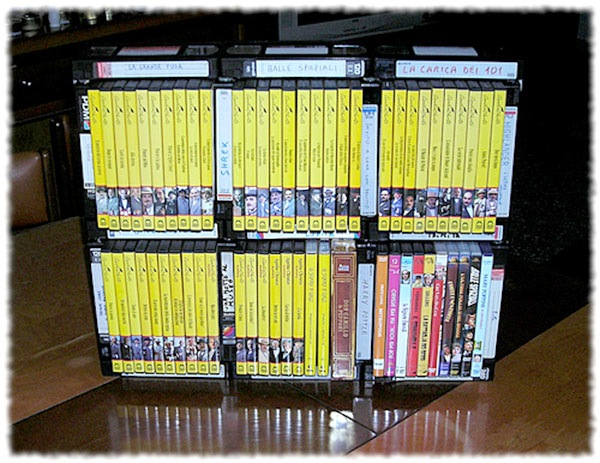 DVD rack built from VHS tapes