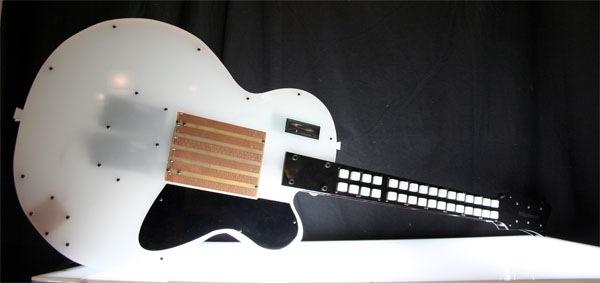 Sleek guitar MIDI controller sports classic shape