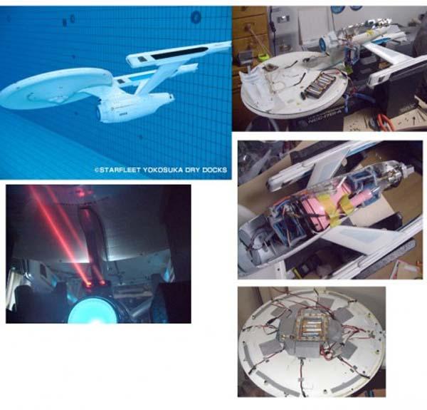 R/C Starship Enterprise flies under water